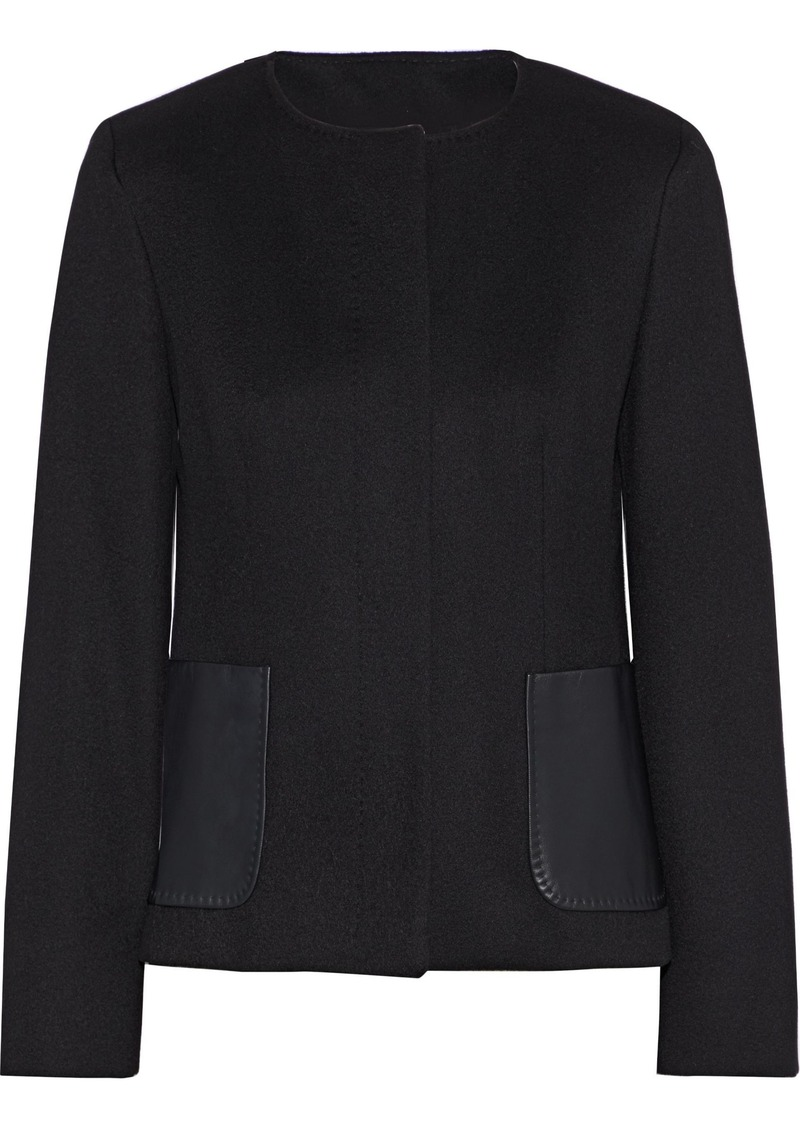 Max Mara Woman Biacco Leather-paneled Camel Hair Jacket Black