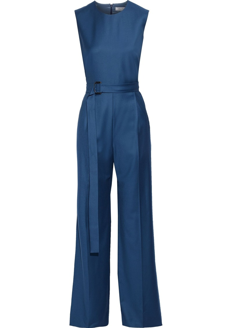 Max Mara Woman Bolzano Belted Wool Wide-leg Jumpsuit Cobalt Blue