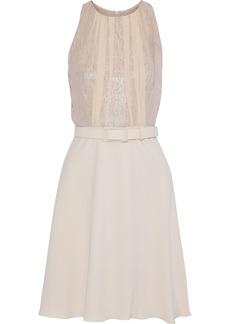 Max Mara Woman Caldo Belted Metallic Silk-georgette And Cady Mini Dress Beige