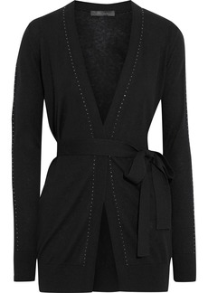 Max Mara Woman Calia Belted Crystal-trimmed Silk And Cashmere-blend Cardigan Black