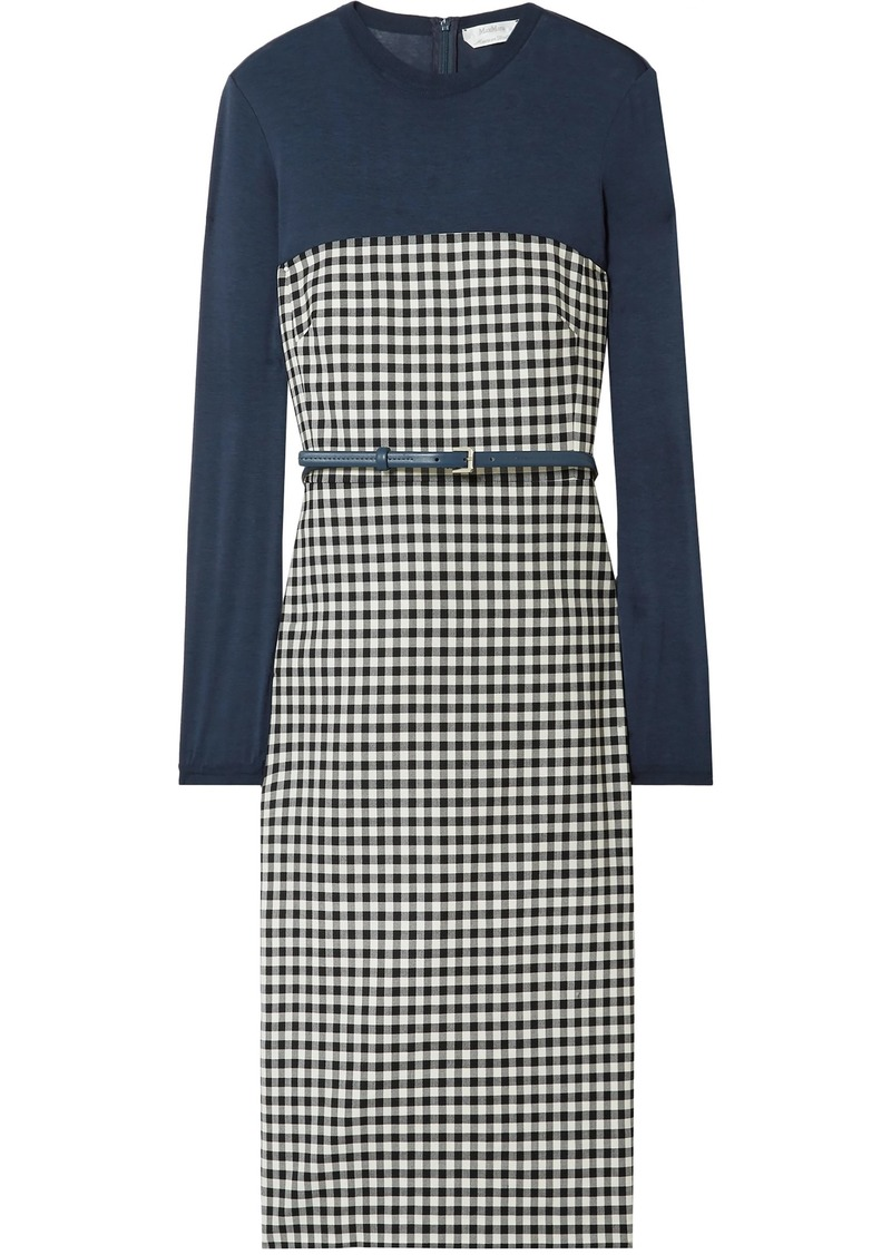 Max Mara Woman Canapa Belted Jersey-paneled Gingham Wool-blend Dress Storm Blue