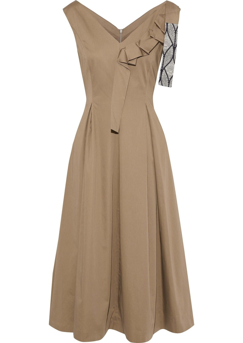 Max Mara Woman Caneva Appliquéd Pleated Cotton-poplin Midi Dress Taupe