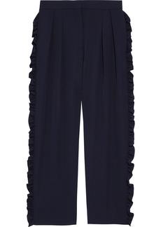 Max Mara Woman Capsula Cropped Ruffle-trimmed Wool-twill Straight-leg Pants Midnight Blue