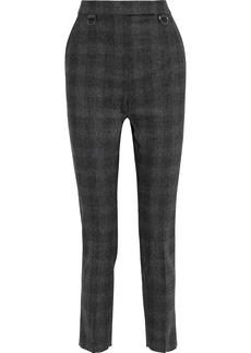 Max Mara Woman Zagara Checked Wool-blend Flannel Skinny Pants Anthracite