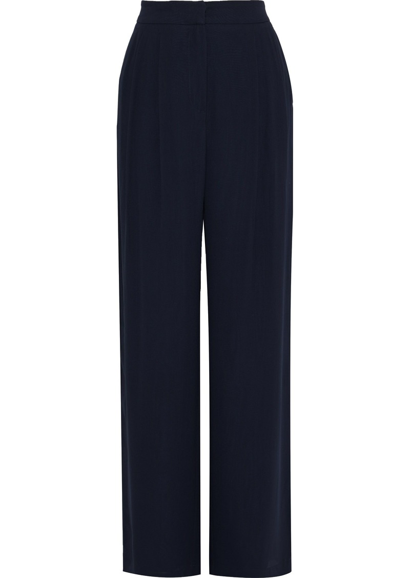 Max Mara Woman Cigno Pleated Silk-crepe Wide-leg Pants Midnight Blue