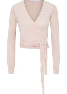 Max Mara Woman Cirino Silk And Cashmere-blend Wrap Top Pastel Pink