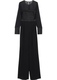 Max Mara Woman Classe Silk-chiffon Satin And Cady Wide-leg Jumpsuit Black
