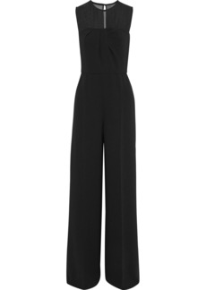 Max Mara Woman Cluny Georgette-paneled Cady Wide-leg Jumpsuit Black