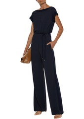 Max Mara Woman Crepe De Chine-trimmed Stretch-jersey Wide-leg Jumpsuit Midnight Blue