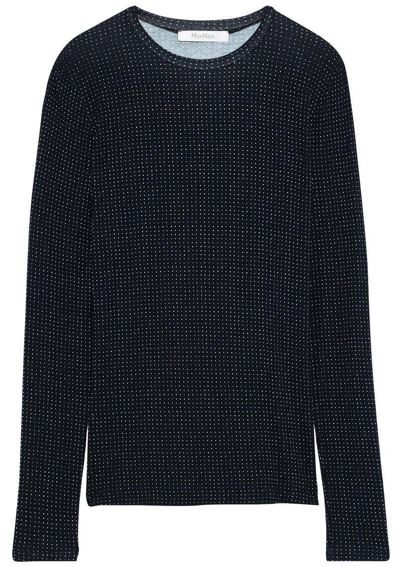 Max Mara Woman Creso Printed Stretch-jersey Top Black