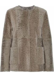 Max Mara Woman Crinkled-shearling Jacket Mushroom