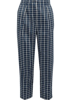 Max Mara Woman Cropped Checked Woven Straight-leg Pants Blue