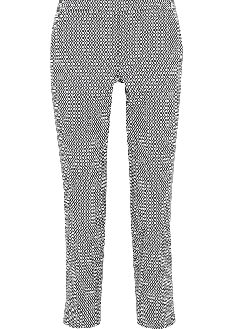 Max Mara Woman Cropped Cotton-blend Jacquard Slim-leg Pants Gray