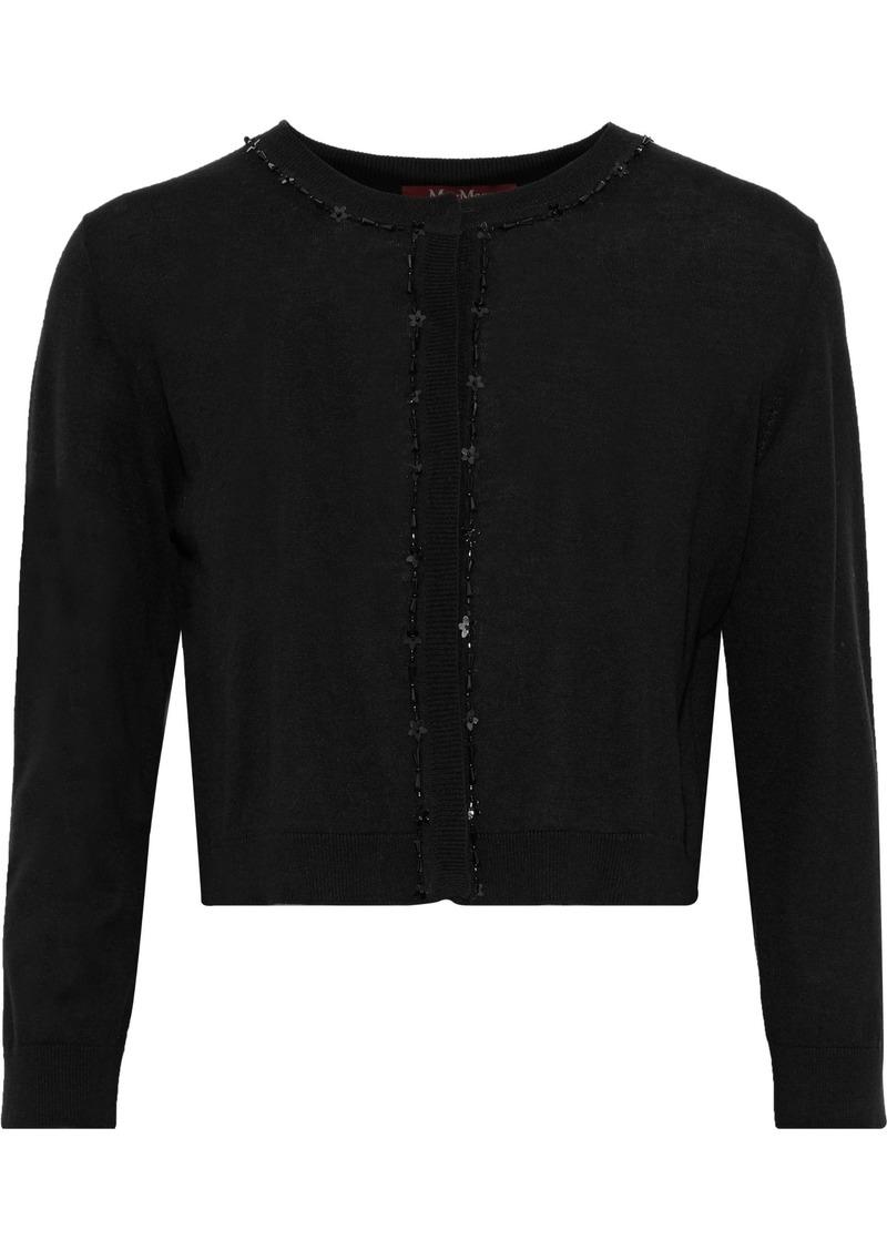 Max Mara Woman Cropped Embellished Silk And Wool-blend Cardigan Black
