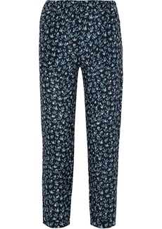 Max Mara Woman Cropped Printed Silk Crepe De Chine Straight-leg Pants Navy
