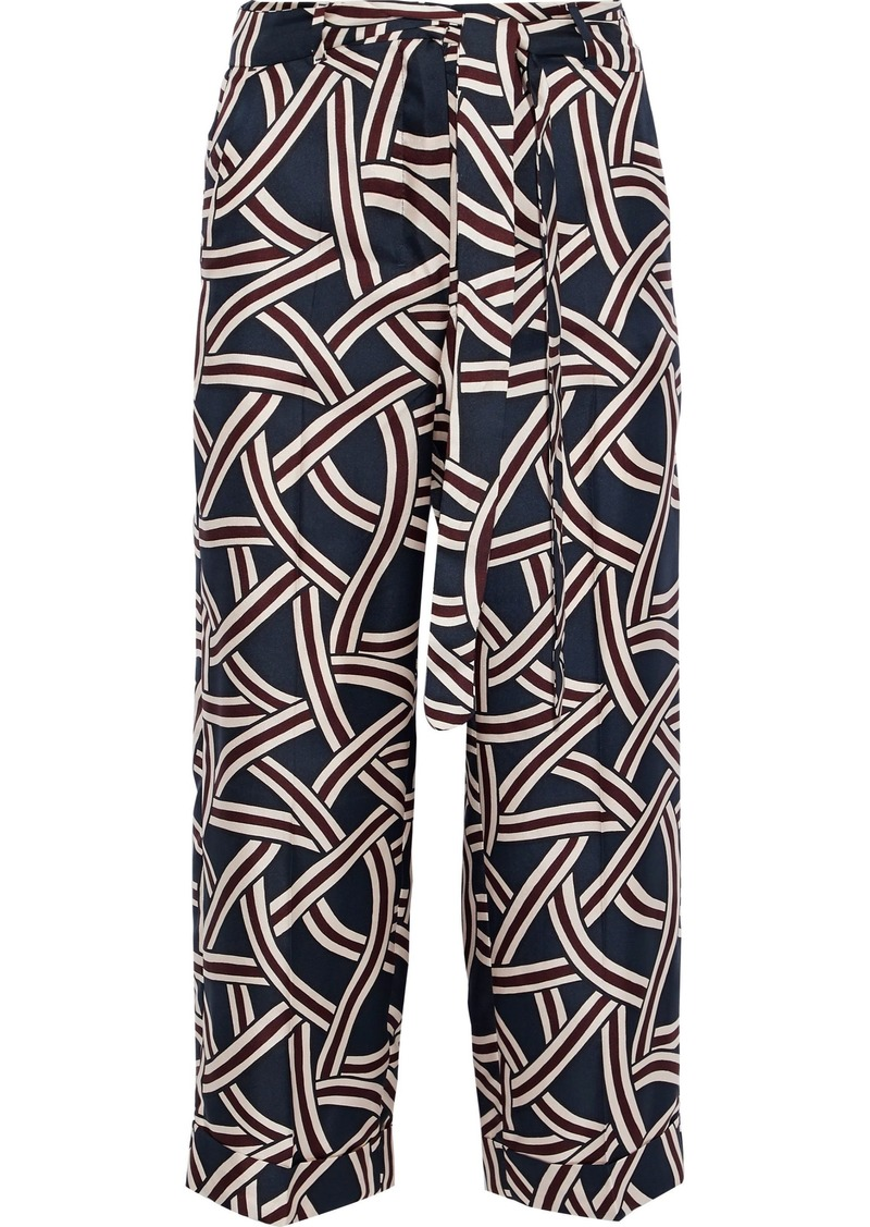 Max Mara Woman Cropped Printed Silk-twill Wide-leg Pants Navy