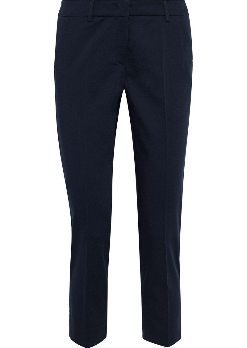 Max Mara Woman Cropped Stretch-cotton Slim-leg Pants Navy