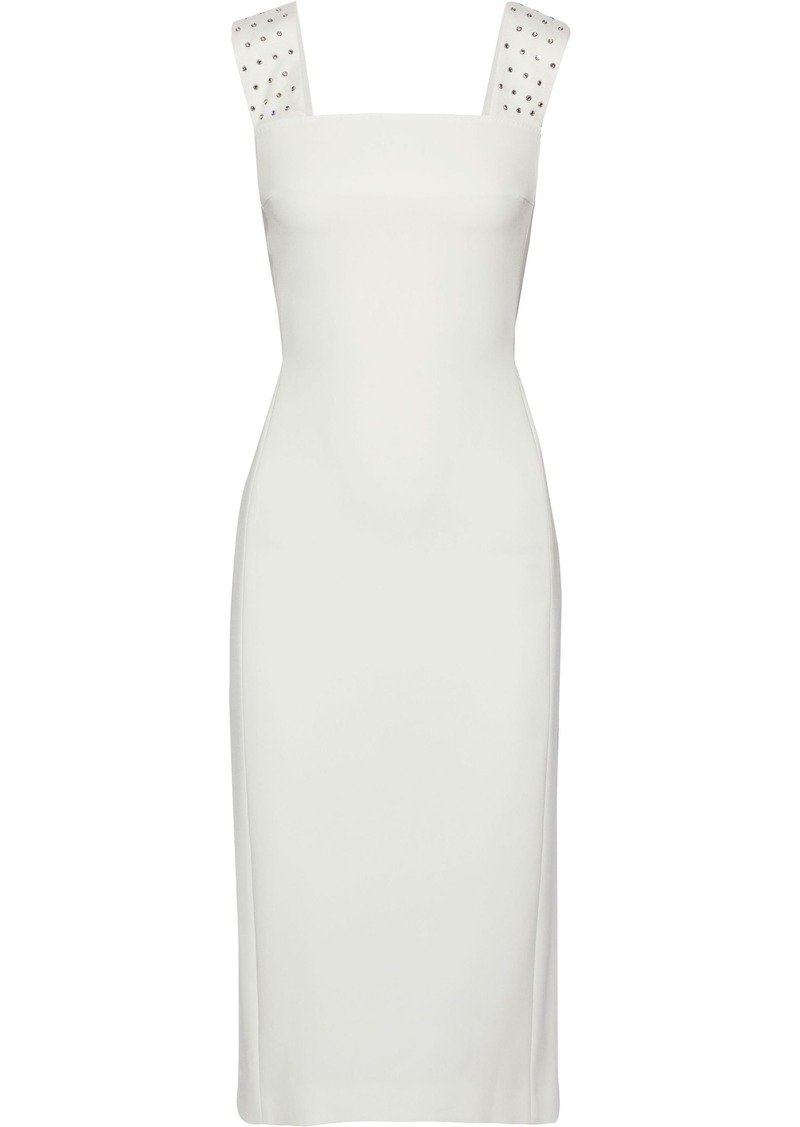 Max Mara Woman Crystal-embellished Satin-trimmed Stretch-crepe Dress Ivory
