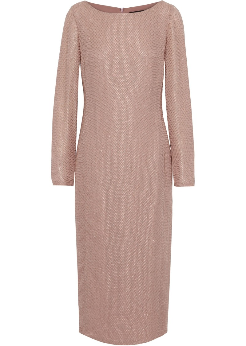 Max Mara Woman Cupido Metallic Bouclé Midi Dress Antique Rose