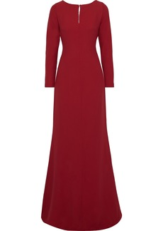 Max Mara Woman Cutout Draped Georgette And Silk-crepe Gown Red