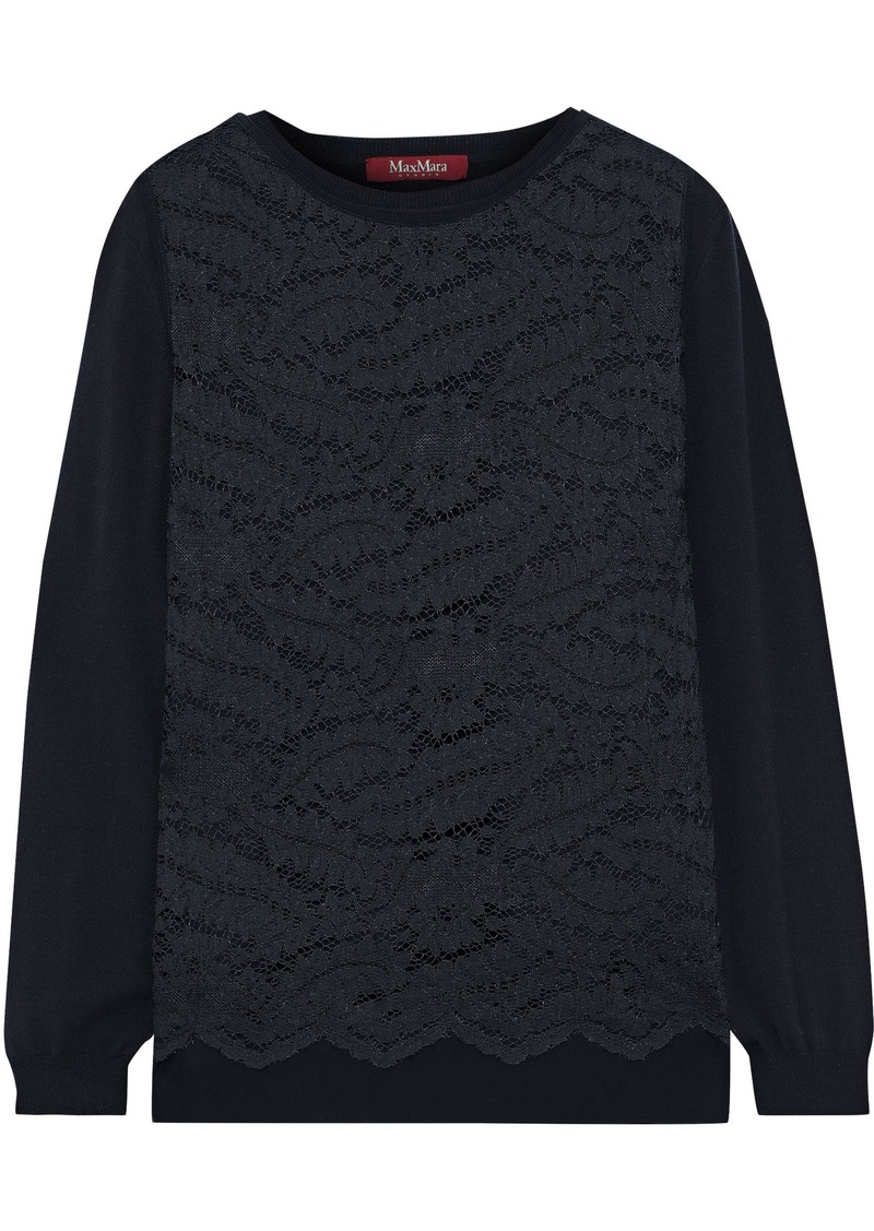 Max Mara Woman Delta Layered Corded Lace And Knitted Sweater Midnight Blue