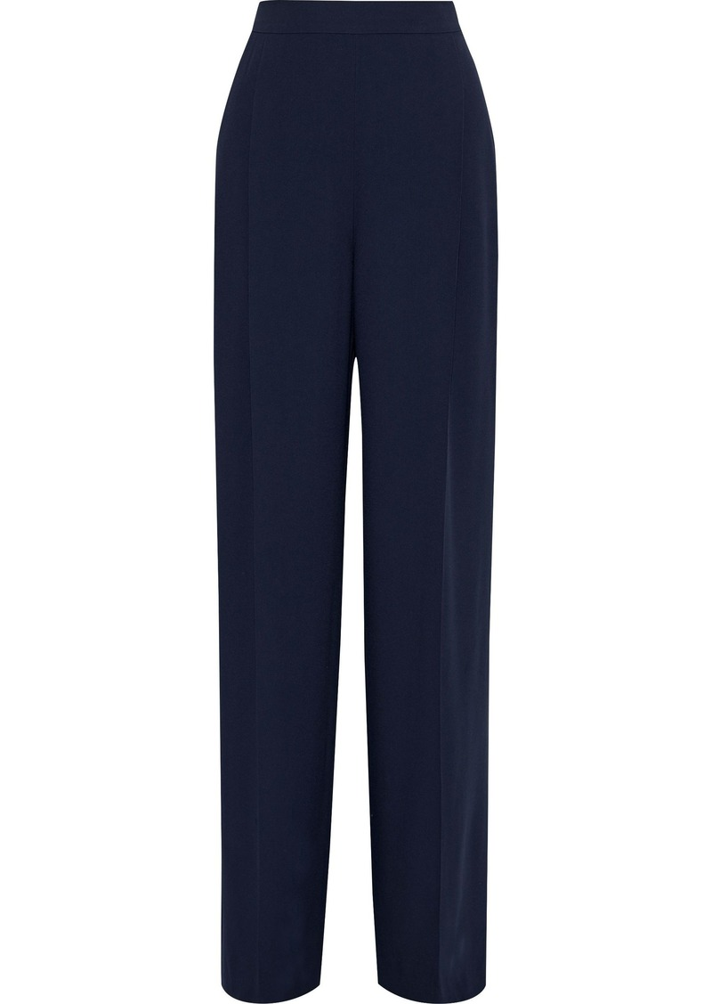 Max Mara Woman Dixi Pleated Crepe Wide-leg Pants Midnight Blue