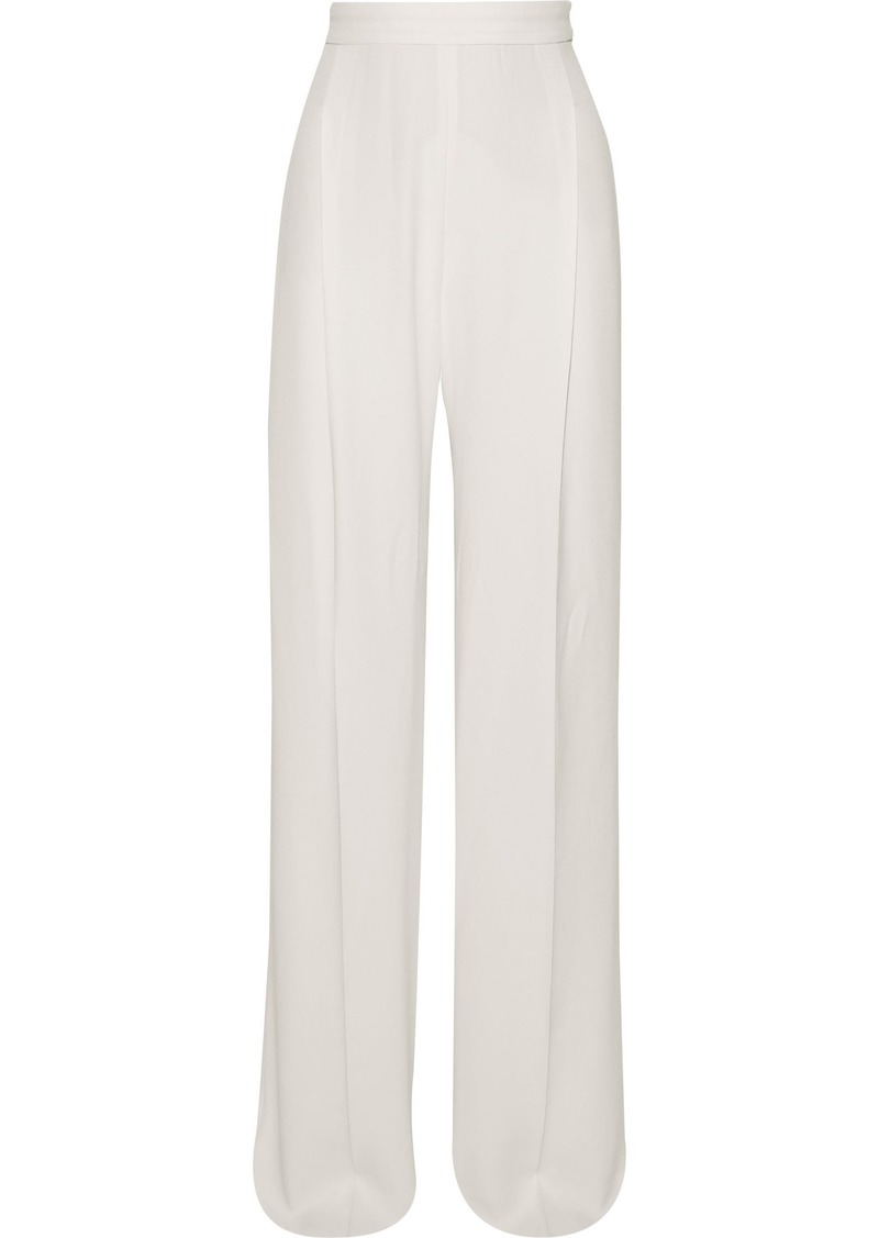 Max Mara Woman Dixi Pleated Crepe Wide-leg Pants Ivory