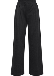 Max Mara Woman Dondolo Pleated Wool And Cotton-blend Wide-leg Pants Charcoal