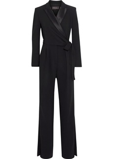 Max Mara Woman Dover Wrap-effect Satin-trimmed Crepe Jumpsuit Black