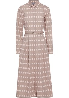 Max Mara Woman Elio Belted Polka-dot Cotton-poplin Midi Dress Neutral