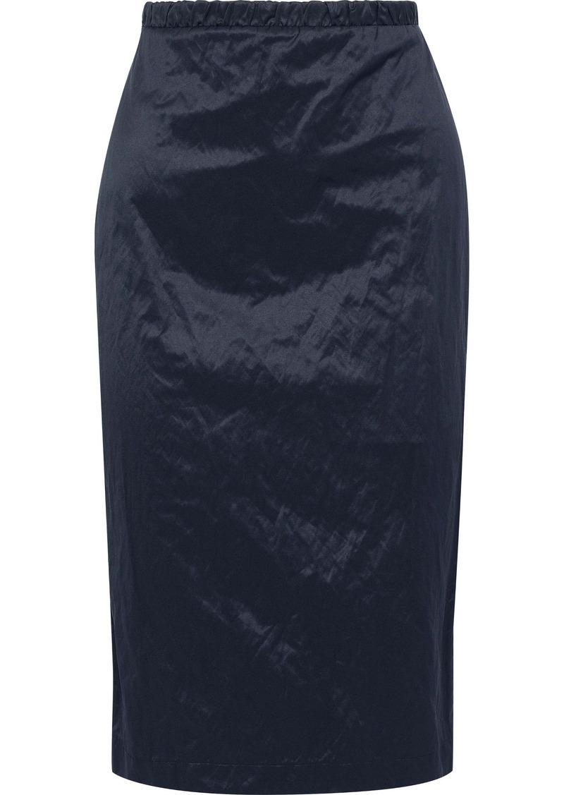 Max Mara Woman Elio Crinkled-sateen Pencil Skirt Navy