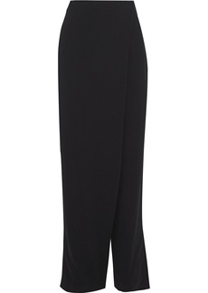 Max Mara Woman Elisir Wrap-effect Crepe Straight-leg Pants Black