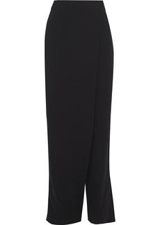 Max Mara Woman Elisir Wrap-effect Crepe Straight-leg Pants Black