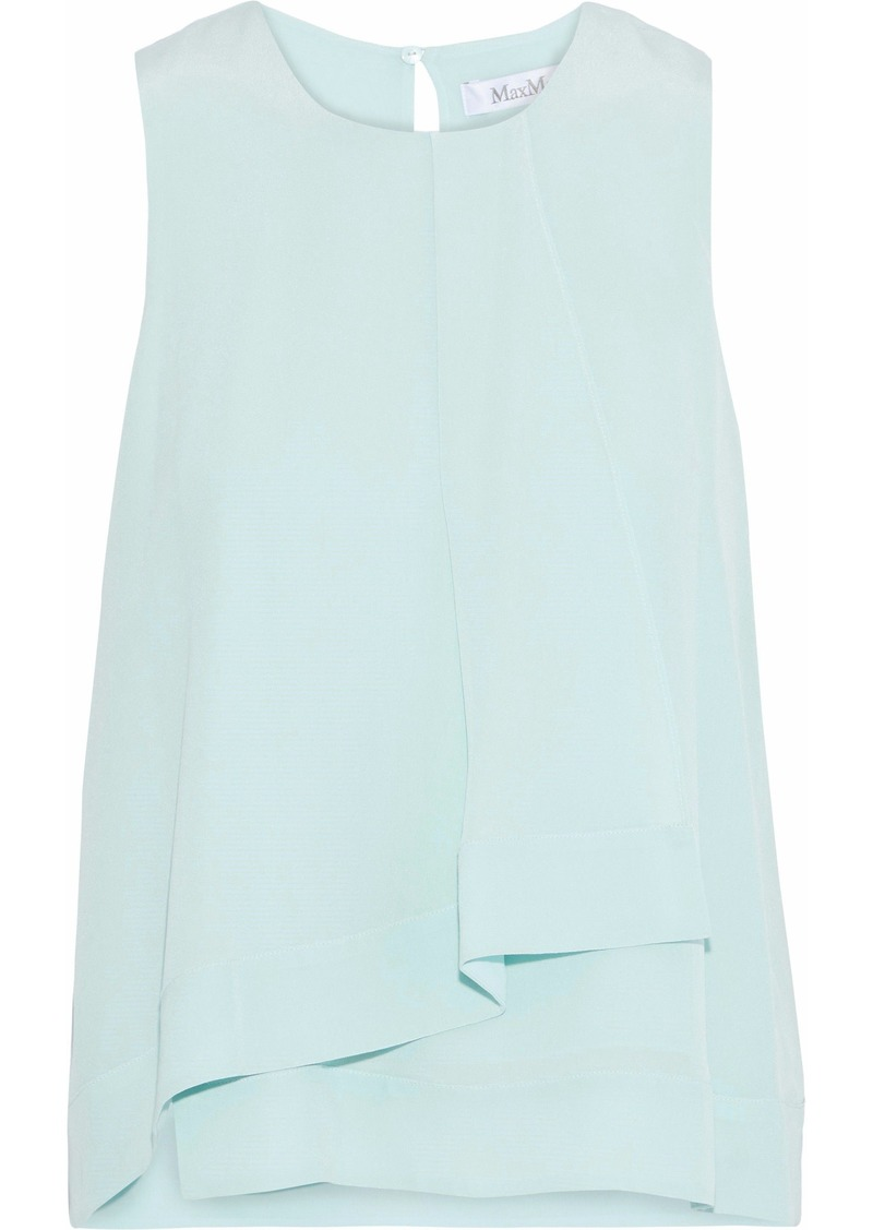 Max Mara Woman Elmo Layered Silk Crepe De Chine Top Sky Blue