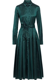 Max Mara Woman Exploit Pleated Silk-shantung Midi Shirt Dress Emerald