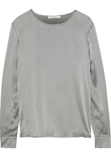 Max Mara Woman Mélange Jersey-paneled Silk-satin Top Gray