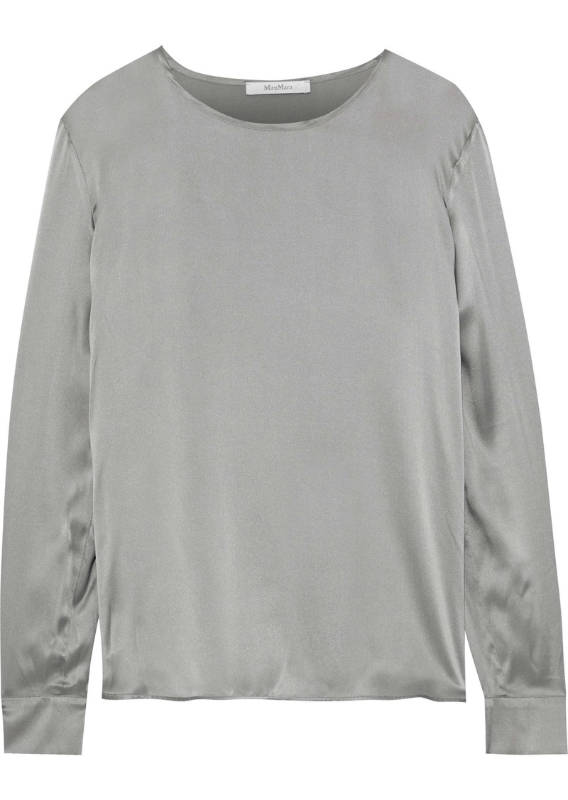 Max Mara Woman Mélange Jersey-paneled Silk-satin Top Gray