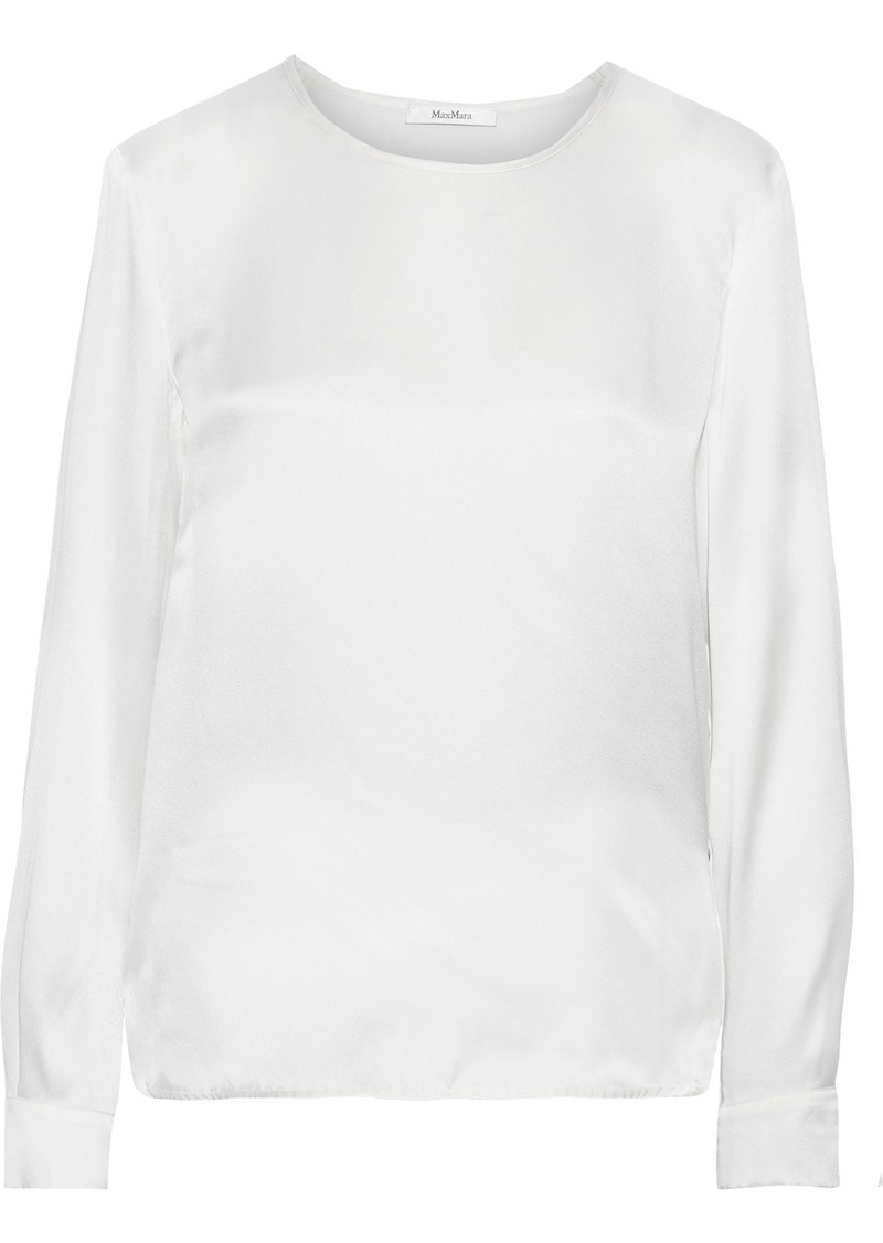 Max Mara Woman Mélange Jersey-paneled Silk-satin Top Ivory
