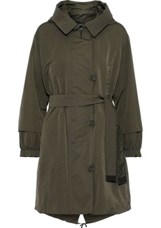 Max Mara Woman Faillep Reversible Belted Shell Hooded Parka Army Green
