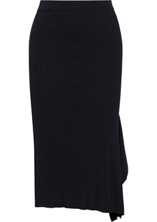 Max Mara Woman Fano Asymmetric Draped Ribbed-knit Skirt Black