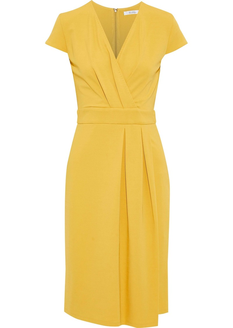 Max Mara Woman Feluca Wrap-effect Pleated Stretch-cady Dress Saffron
