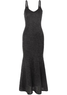 Max Mara Woman Fluted Mohair-blend Maxi Dress Anthracite