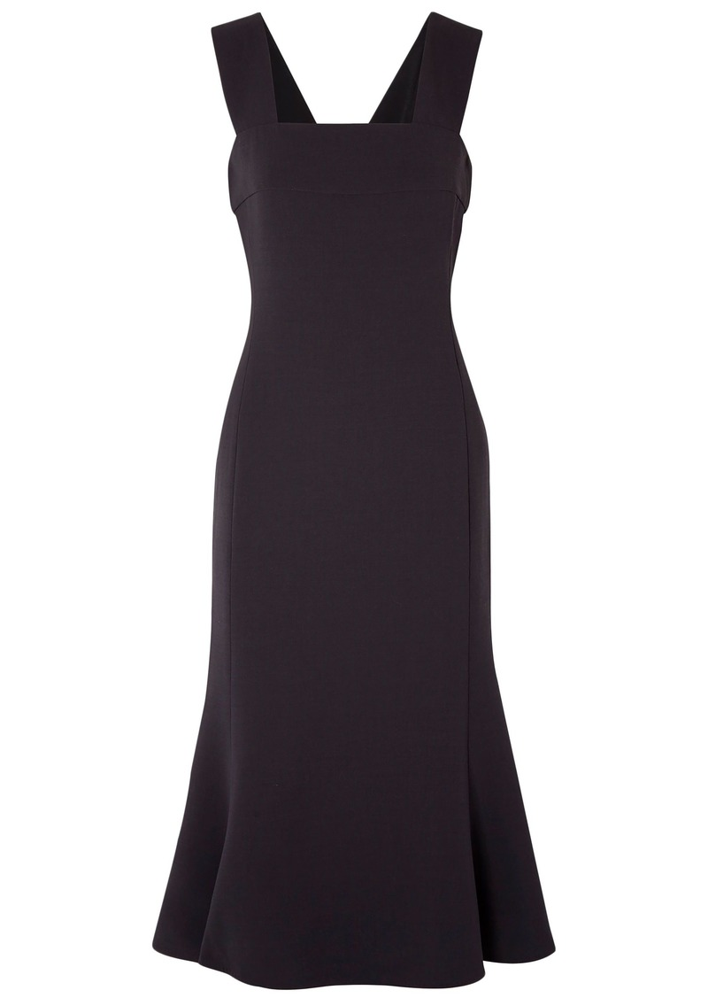 Max Mara Woman Malizia Fluted Wool-blend Midi Dress Midnight Blue