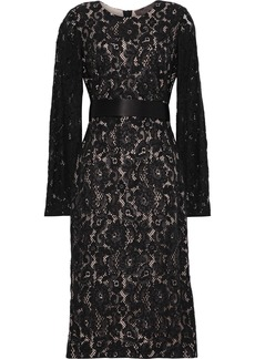 Max Mara Woman Gala Belted Embellished Corded Lace Dress Black