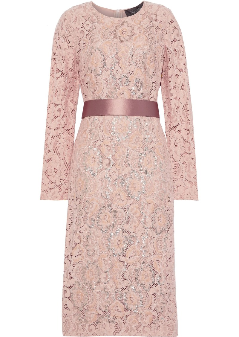 Max Mara Woman Gala Belted Embellished Corded Lace Dress Blush
