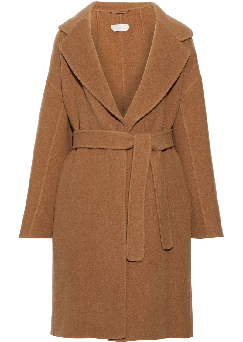 Max Mara Woman Garibo Belted Brushed Wool And Mohair-blend Coat Light Brown