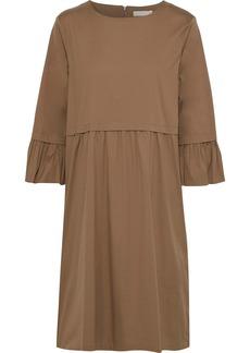 Max Mara Woman Gathered Cotton-blend Poplin Midi Dress Light Brown