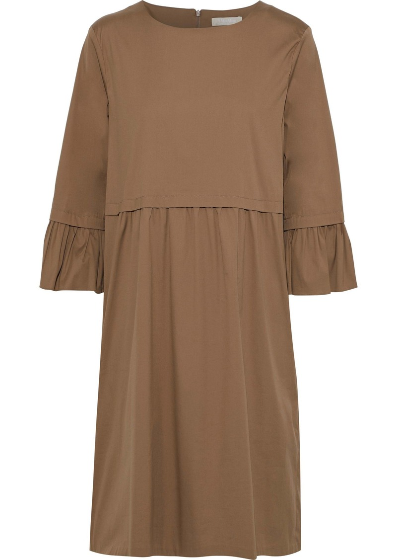 Max Mara Woman Gathered Cotton-blend Poplin Midi Dress Light Brown