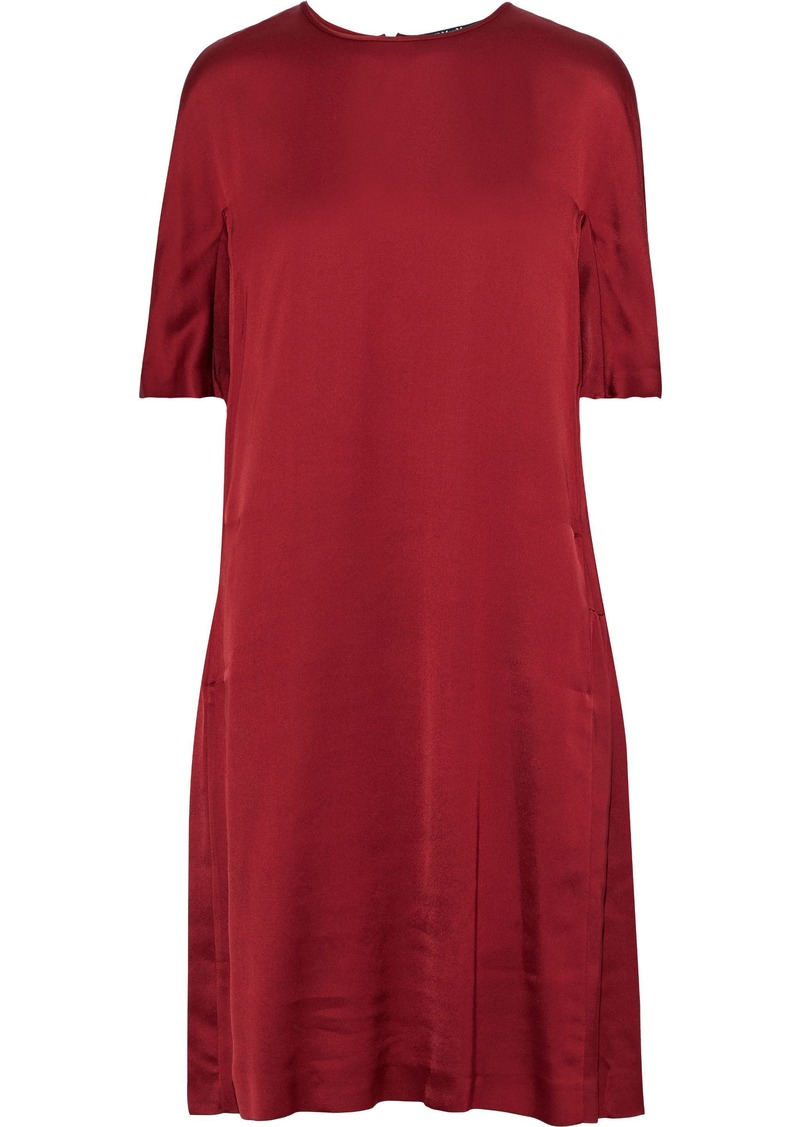 Max Mara Woman Gathered Satin-crepe Dress Claret