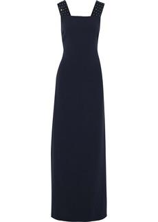 Max Mara Woman Gelada Cutout Crystal-embellished Cady Gown Midnight Blue